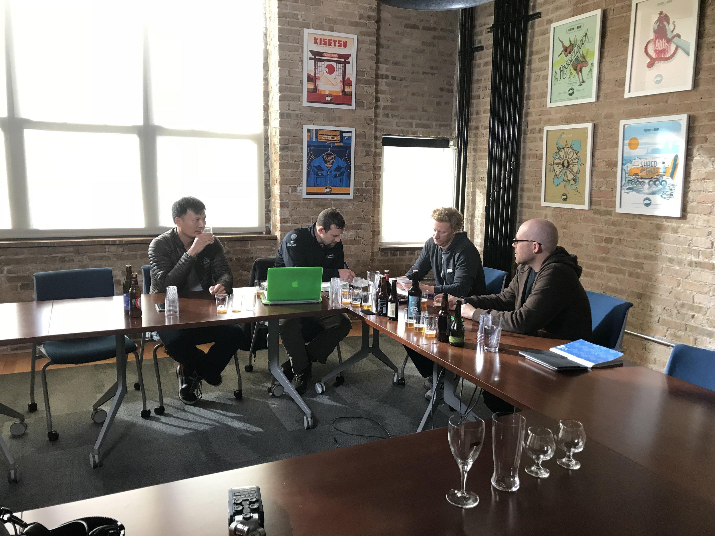 James Tai, Joe Vogelbacher, Ryan Daley, and Gavin Harper prepare for the grueling Master Cicerone exam.