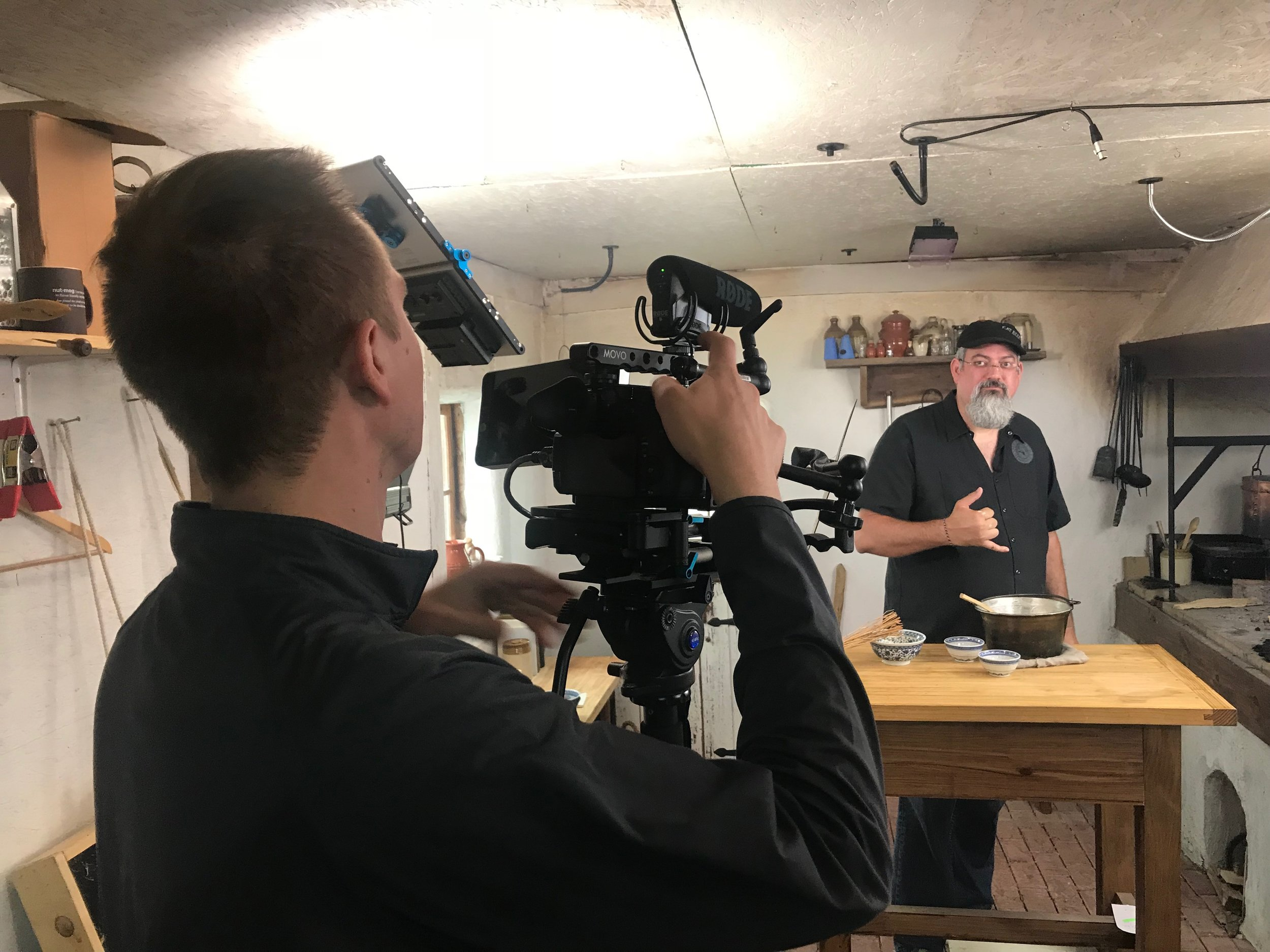 Chef Sean Z. Paxton in between takes and tastes while on location in Indiana.