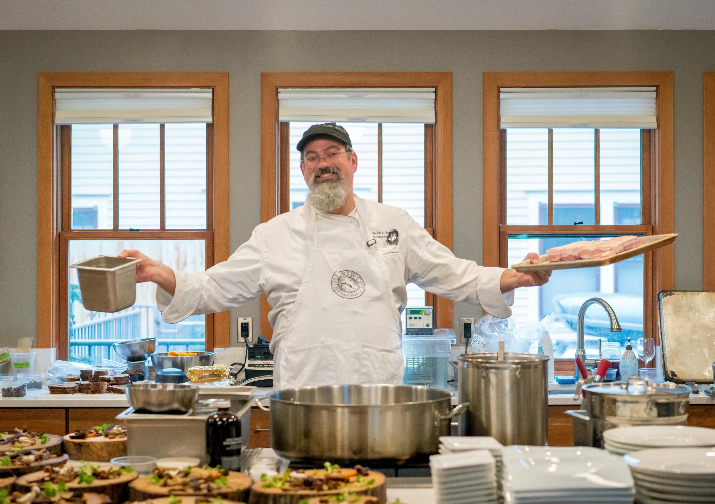 Home Brew Chef Sean Z. Paxton putting his talents and tastes on display for one of his signature feasts.
