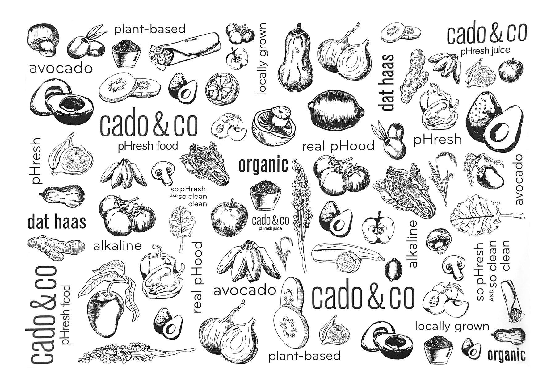 Illustrations were combined with Cado & Co's unique brand voice to create the vellum lining for the serving trays.