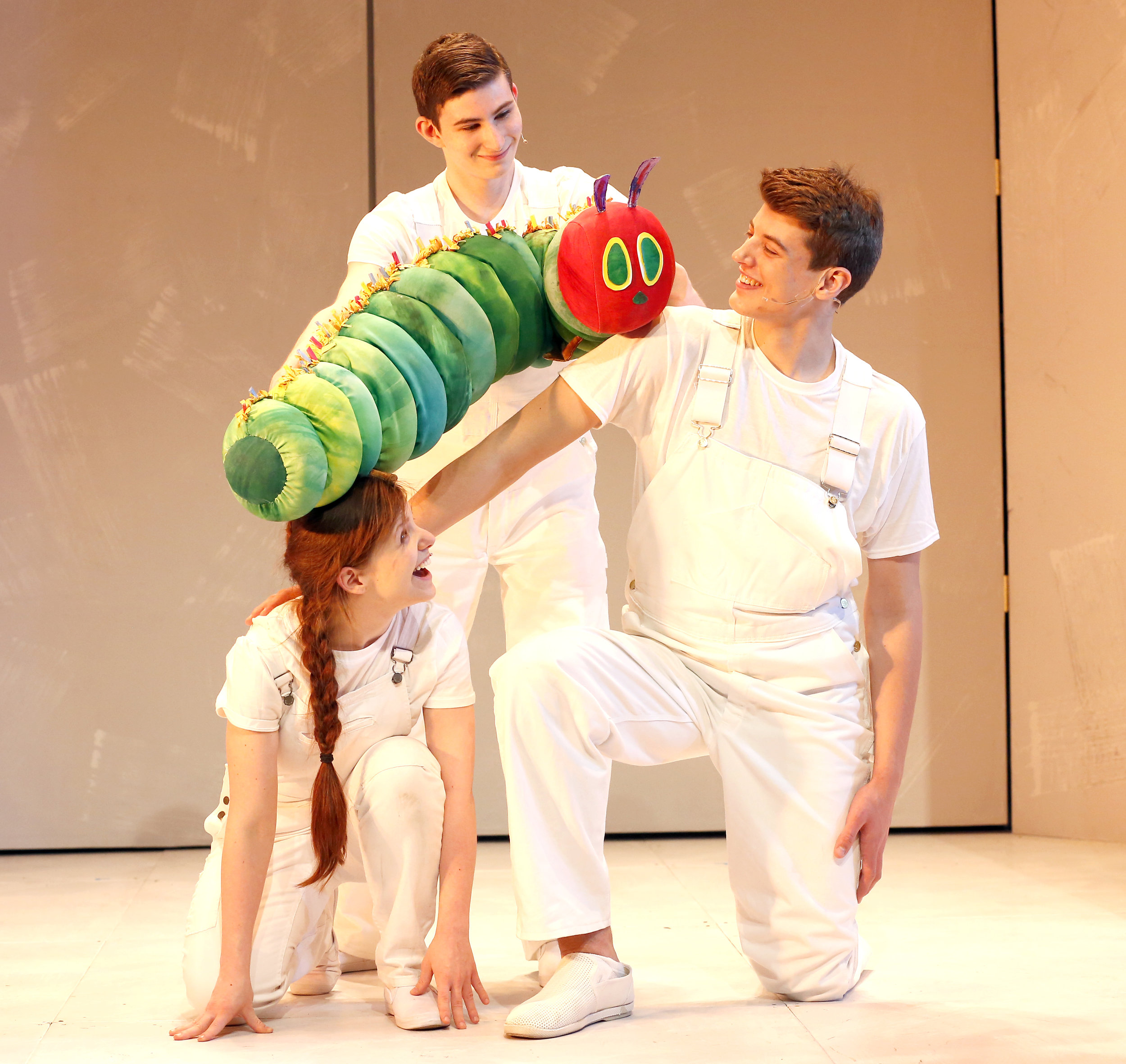 The Very Hungry Caterpillar (Jake Bazel), climbs up Ariel Lauryn and Weston Long Photos by Carol Rosegg.JPG