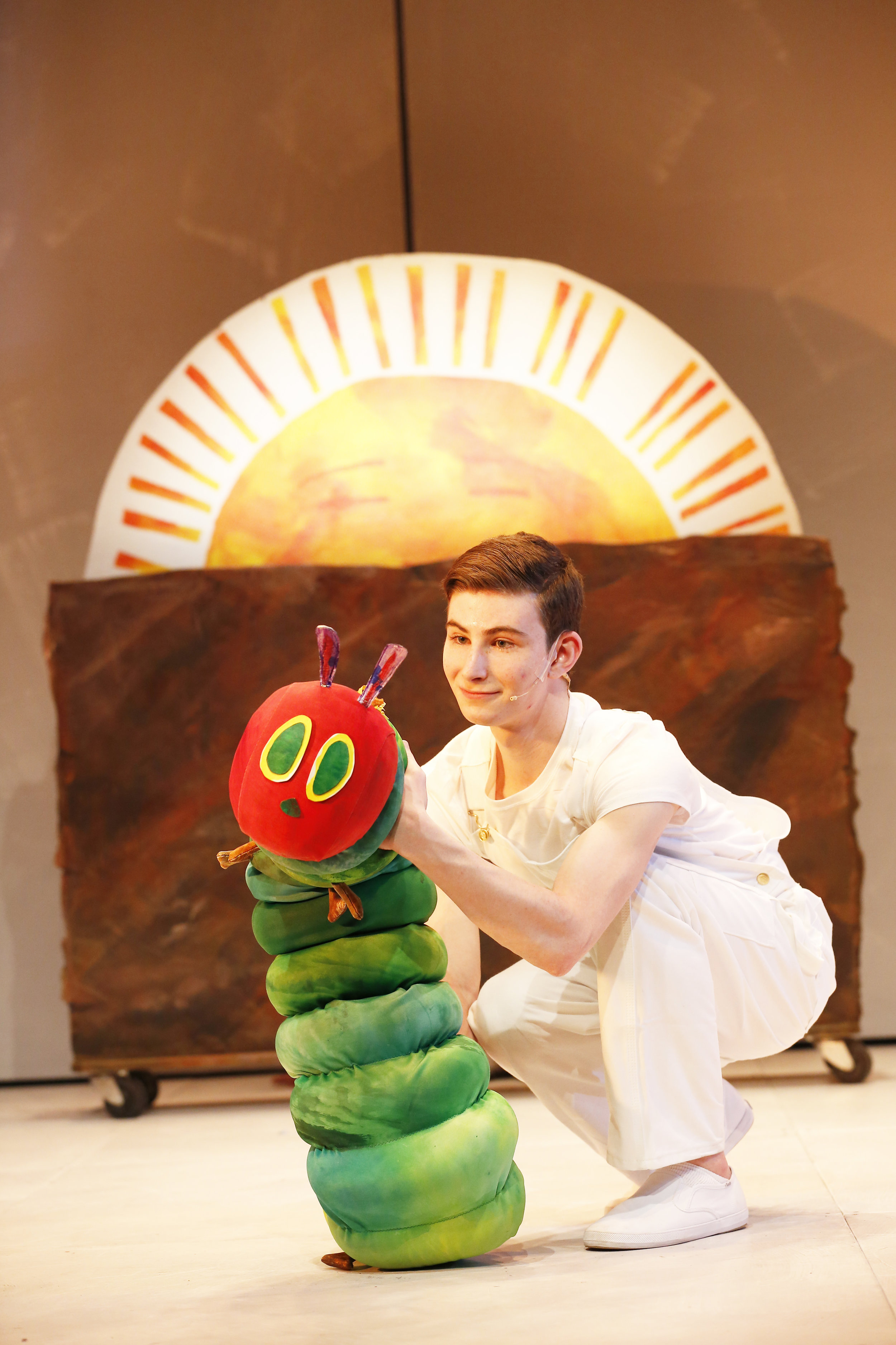 The Very Hungry Caterpillar and Jake Bazel. Photos by Carol Rosegg.JPG