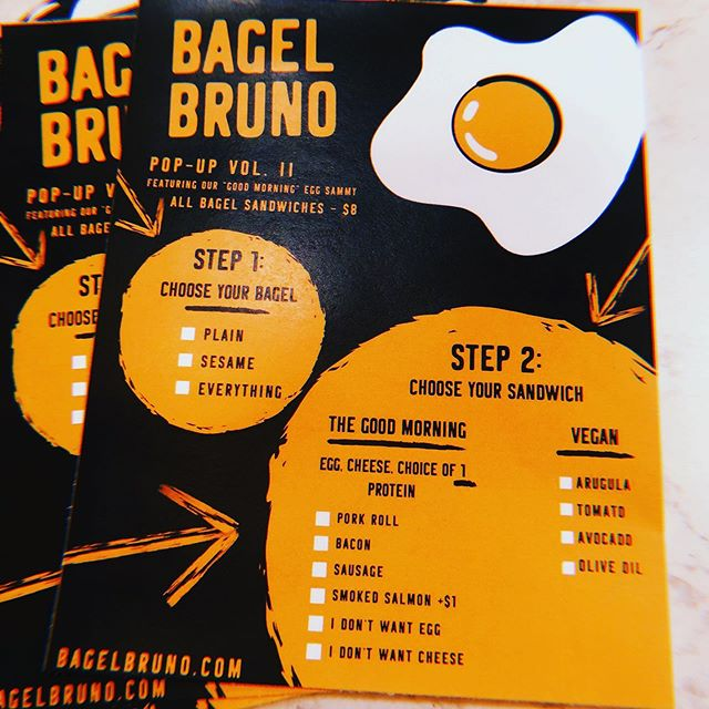 Sneak peek at the menu for tomorrow's pop up! Starts at 9AM! See you at 805 Lee Road as we unveil the #bagelbruno sandwiches!