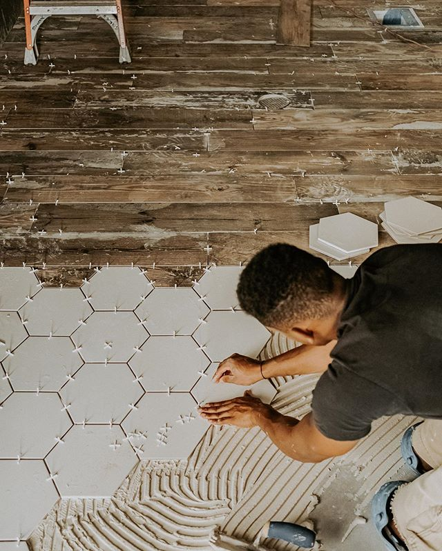 Getting pumped about our progress this week and the new tile pattern we have lined up for our store!