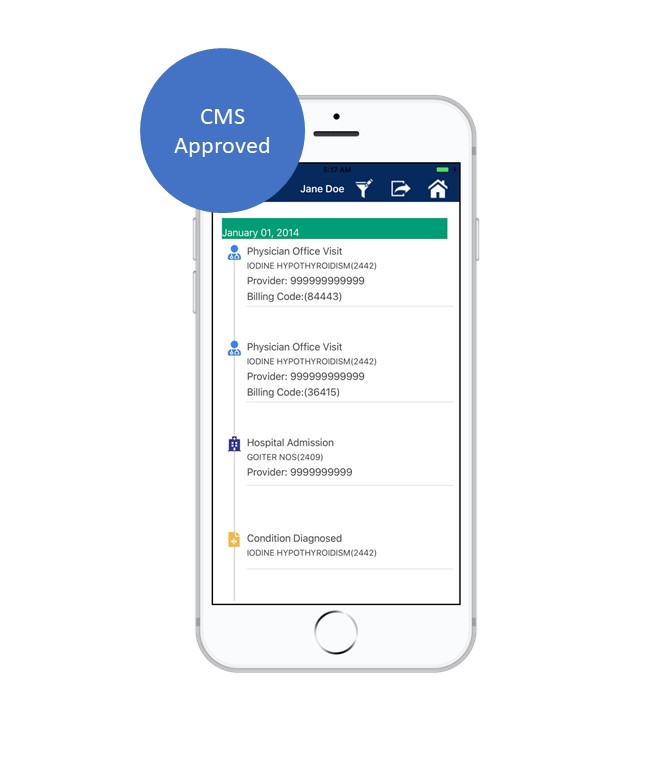 Blue Button®    is a government initiative that is not affiliated in any way with BlueButtonPRO.    BlueButtonPRO app is approved by Centers for Medicare & Medicaid Services (CMS) for use by Medicare beneficiaries, but is not sponsored by the Federal Government.