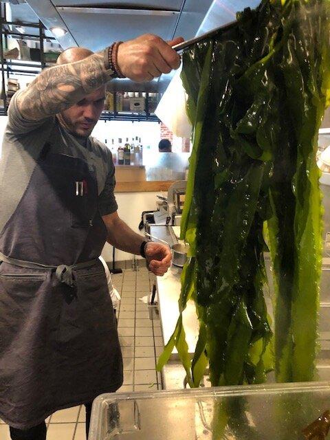 Blanched kelp noodles being prepared for seaweed salad at Oko in Westport Photo by Suzie Flores