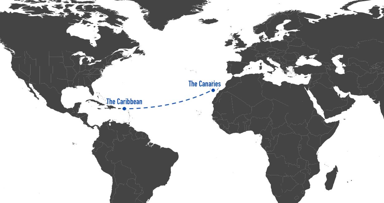 The Route - San Sebastián de La Gomera toEnglish Harbour, Antigua