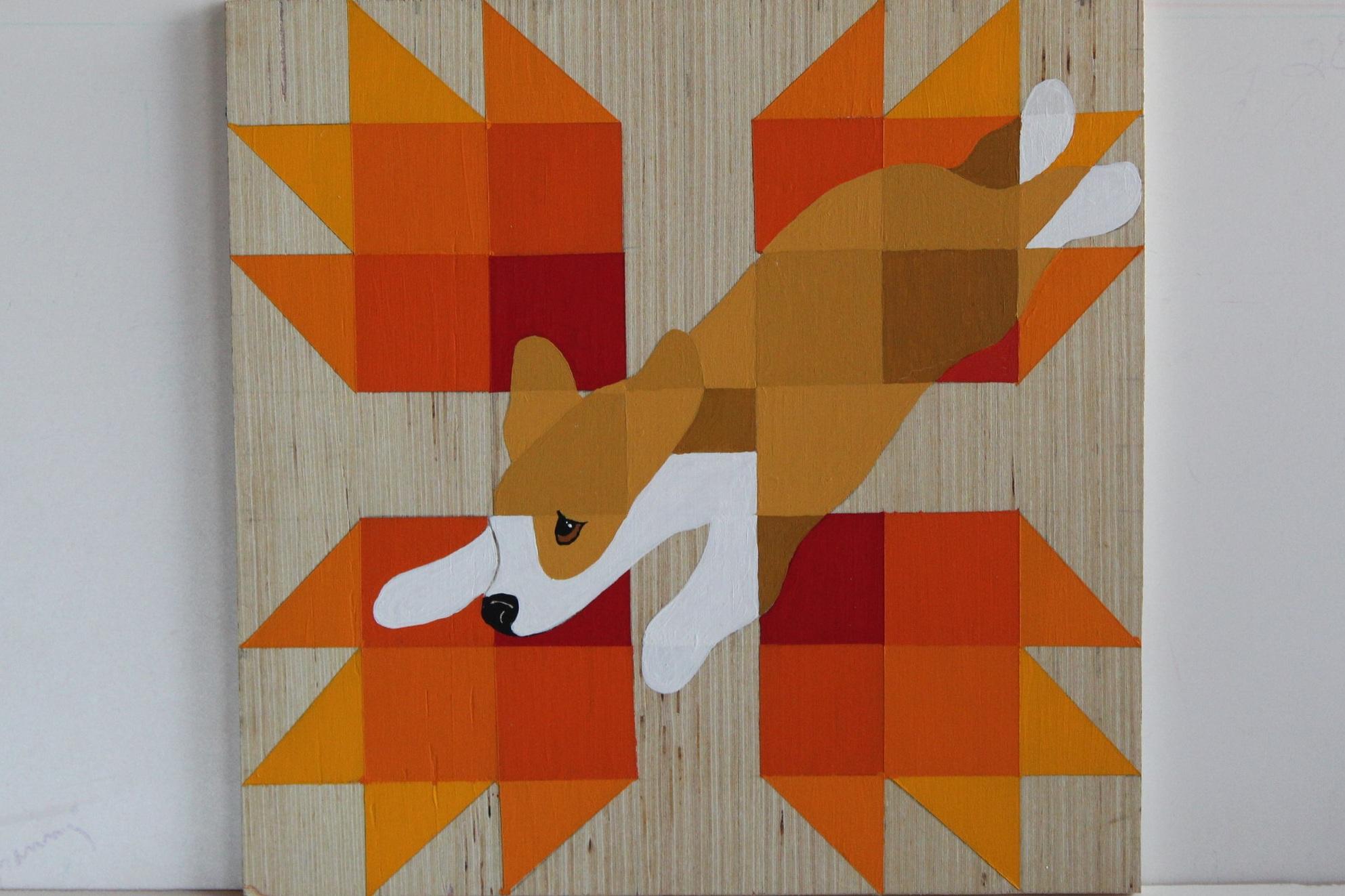 """FALL CORGI BARN QUILT . 12 x 12"""" Acrylic on wood. $125 . canvas wraps available."""