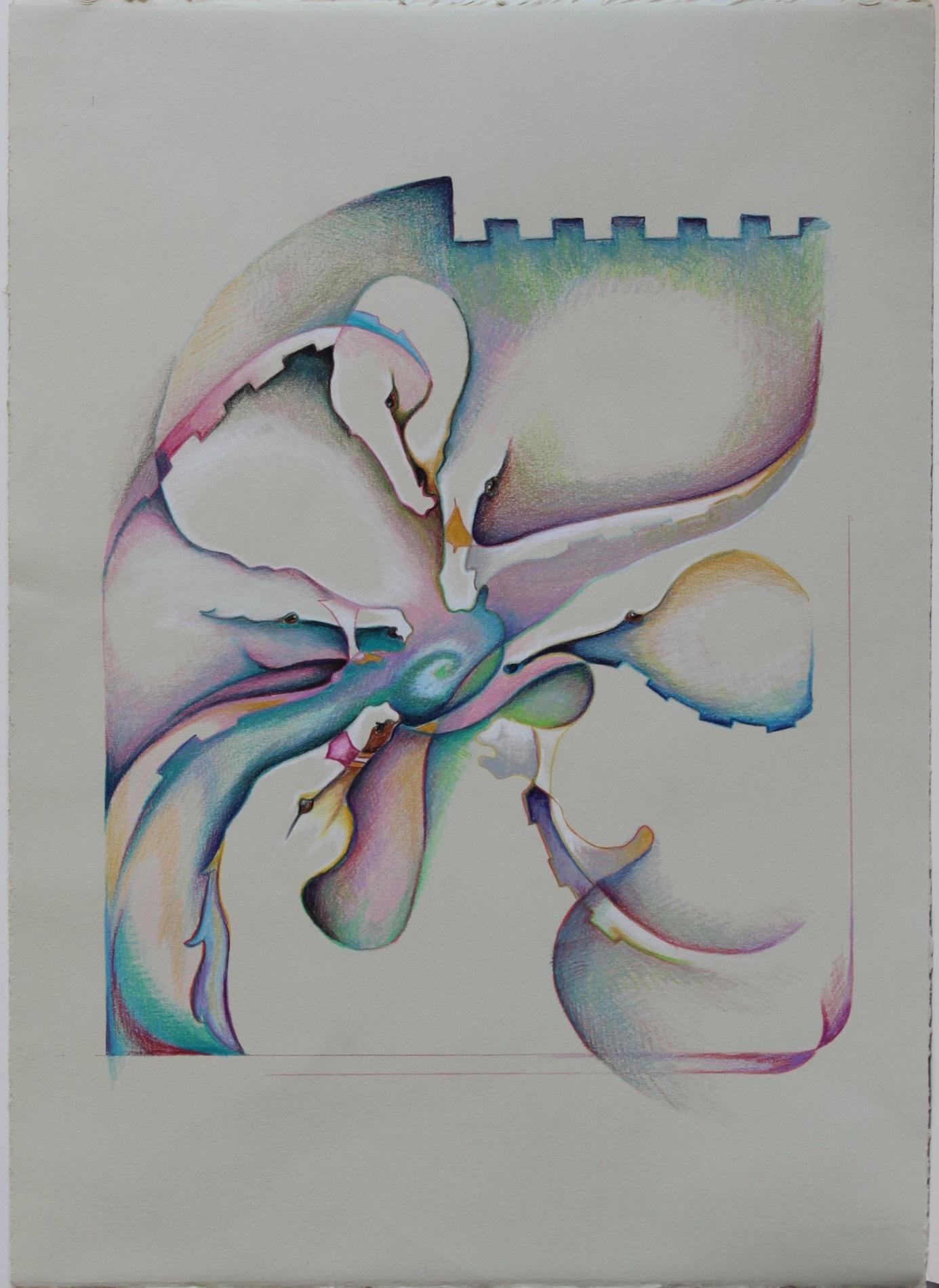 "Carousel Dreams . Prismacolor 22 x 16"" . $145"
