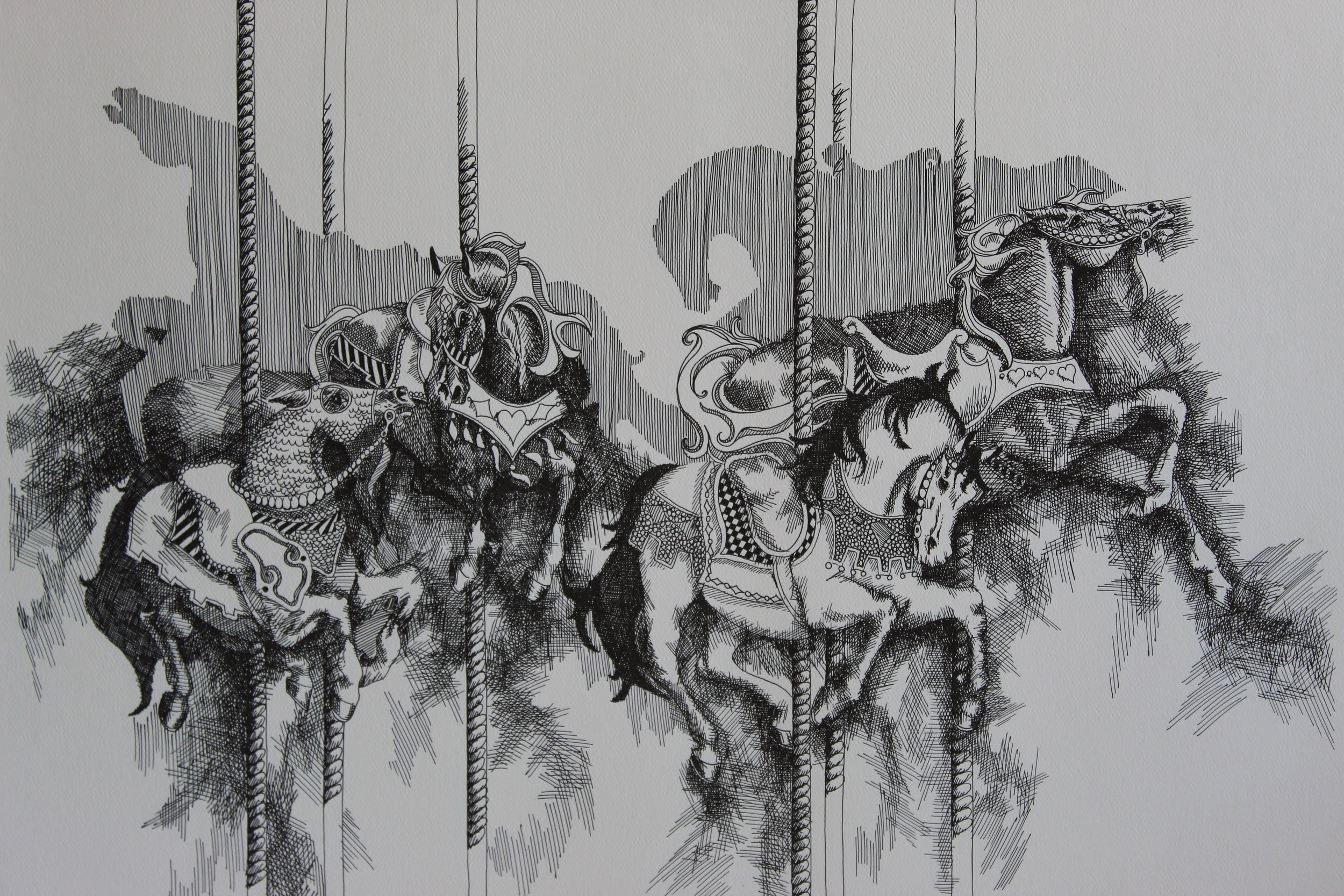 "CAROUSEL by SIX. 24 x 16"". Pen and Ink limited edition Lithographs. Can be hand colored. $55. $80"