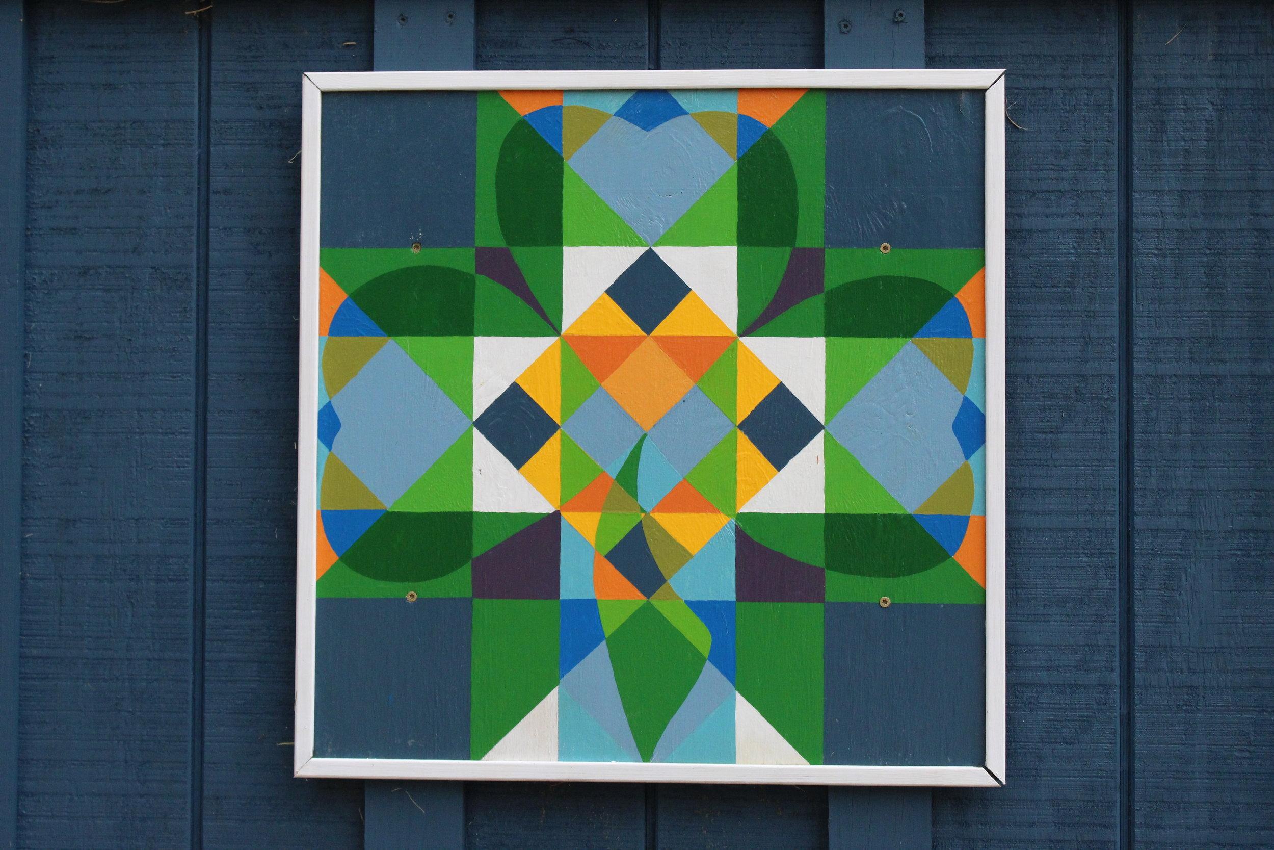 "My Favorite Barn Quilt Shamrock. 24 x 24"" acrylic on wood. $150"