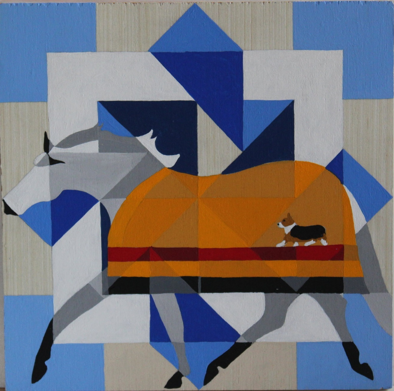 "WINTER CORGI BARN QUILT. 12 x 12"" acrylic on wood. Wrapped canvas available."