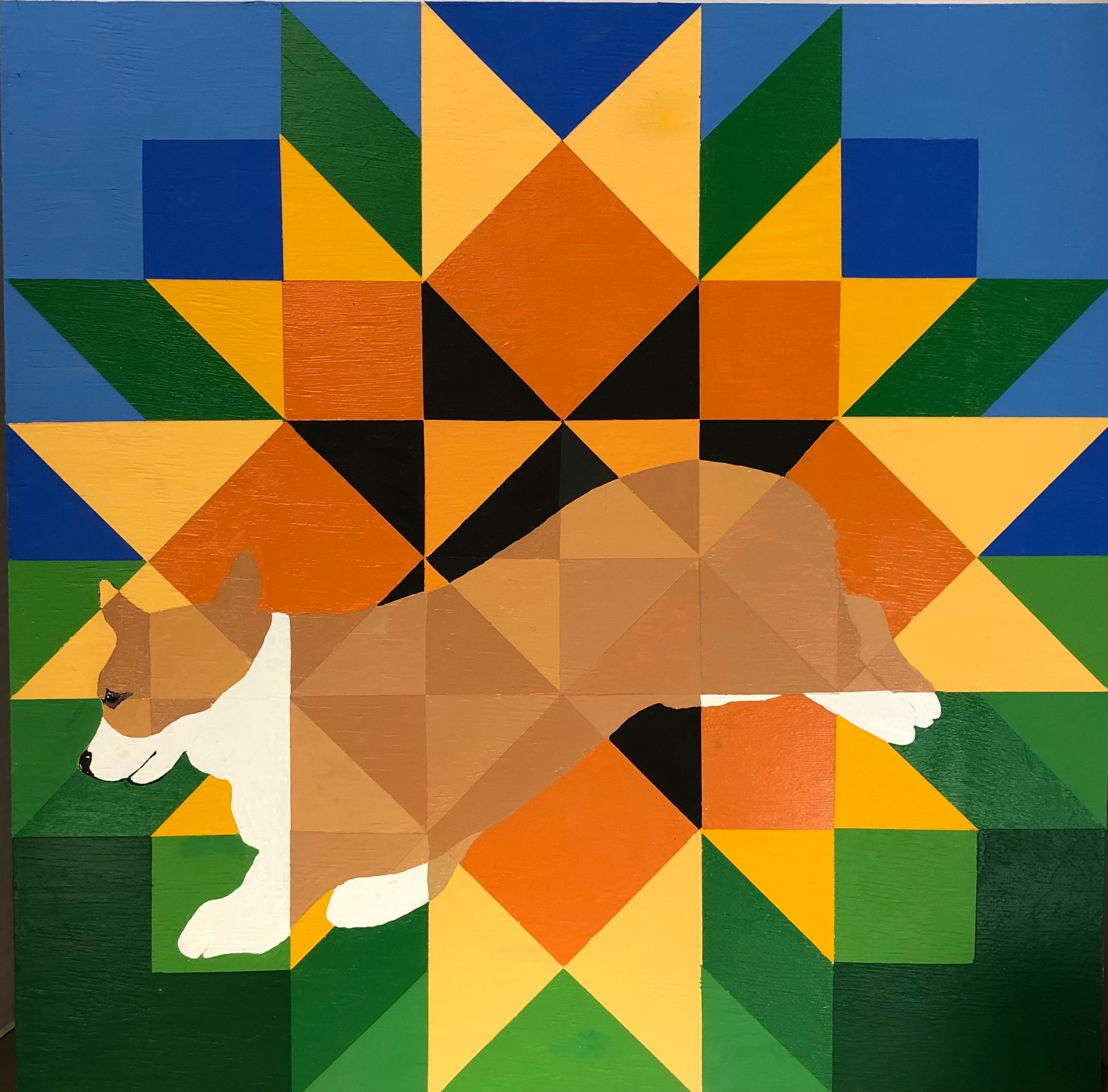 "SUMMER CORGI BARN QUILT. Acrylic on wood. 24 x 24"" . All barn quilts are varnished and weather proofed. But they still wont last forever outdoors. $150"