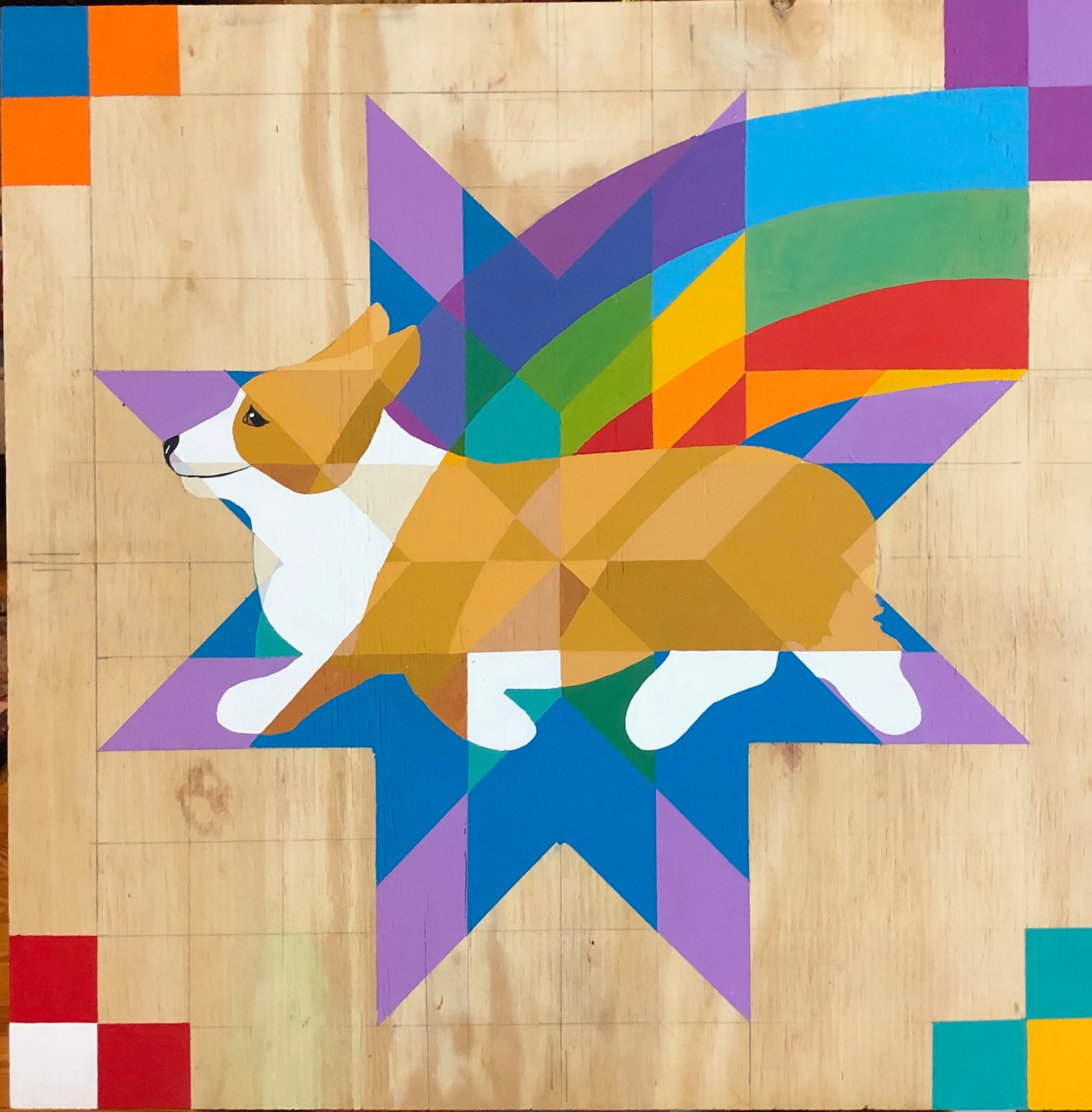 "CORGIPRIDE BARN QUILT. 24 x 24"" Acrylic on wood. This will be varnished and weatherproof. $125"