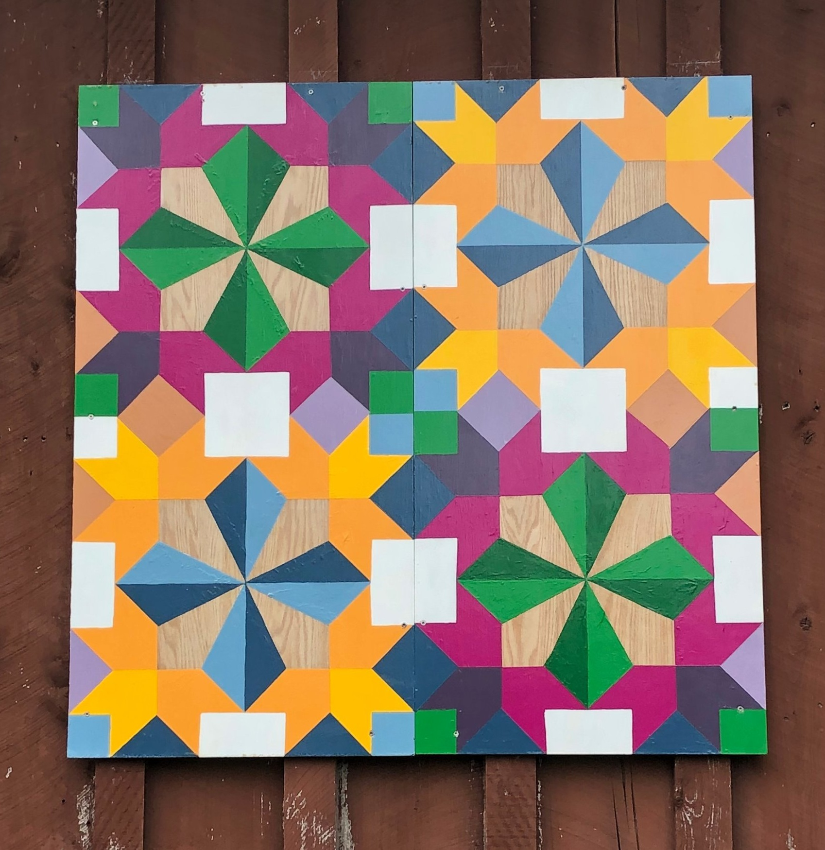"CADY O'DALY BARN QUILT. 48 x 48"" . Acrylic on wood. Varnished. custom order- $350"