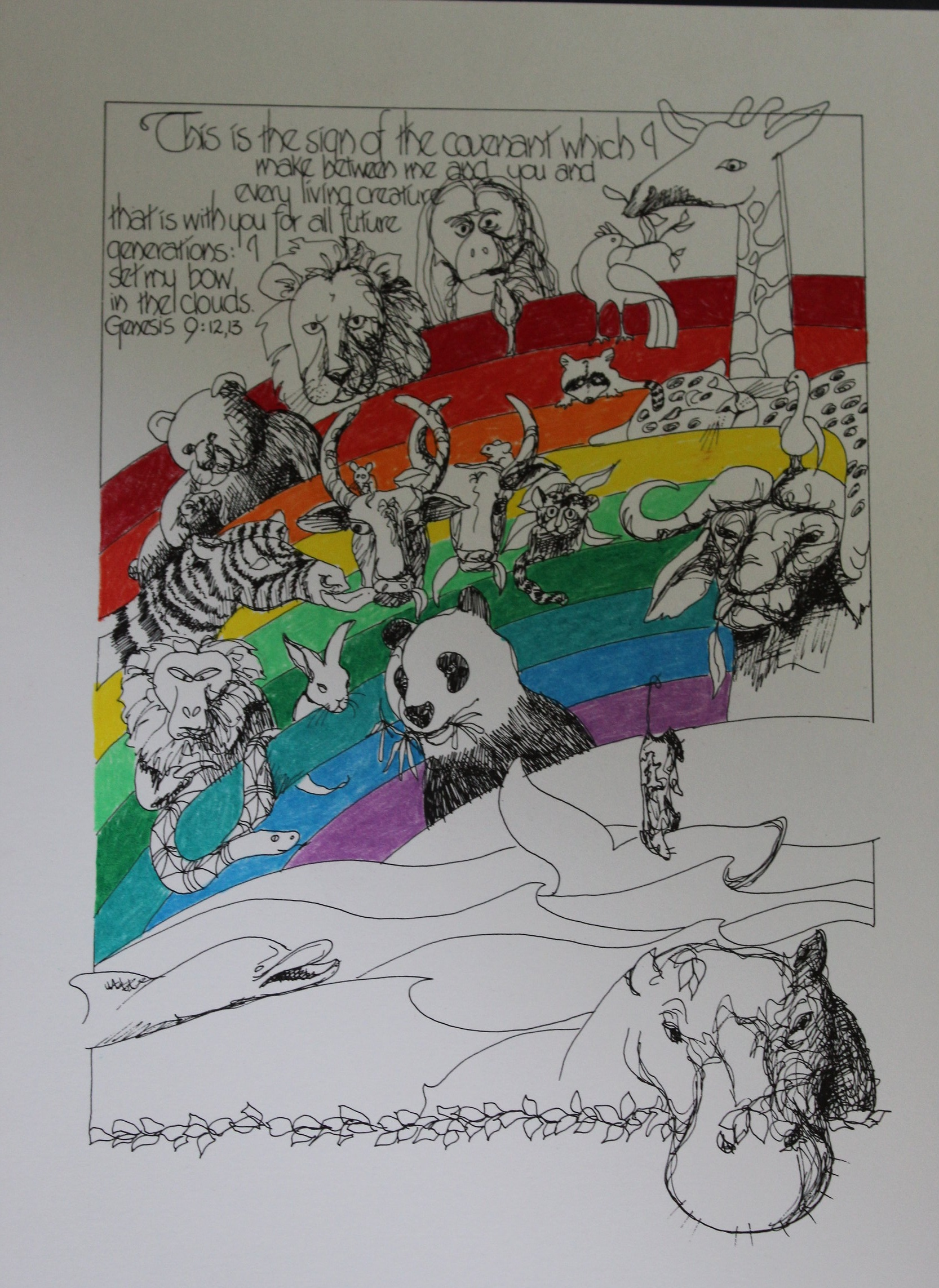 """Genesis 9:12,13. Limited edition lithograph. 9 x 12"""" Handcolored . $60"""