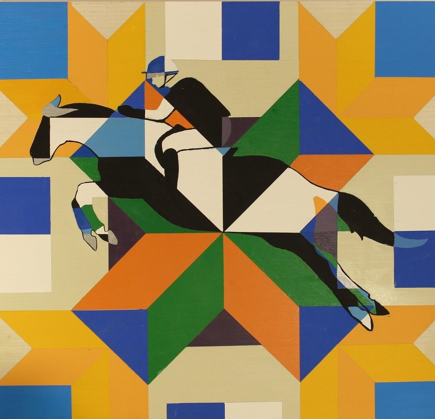 "STEEPLECHASE . Barn Quilt. Acrylic on wood. 24 x 24"" . $124"