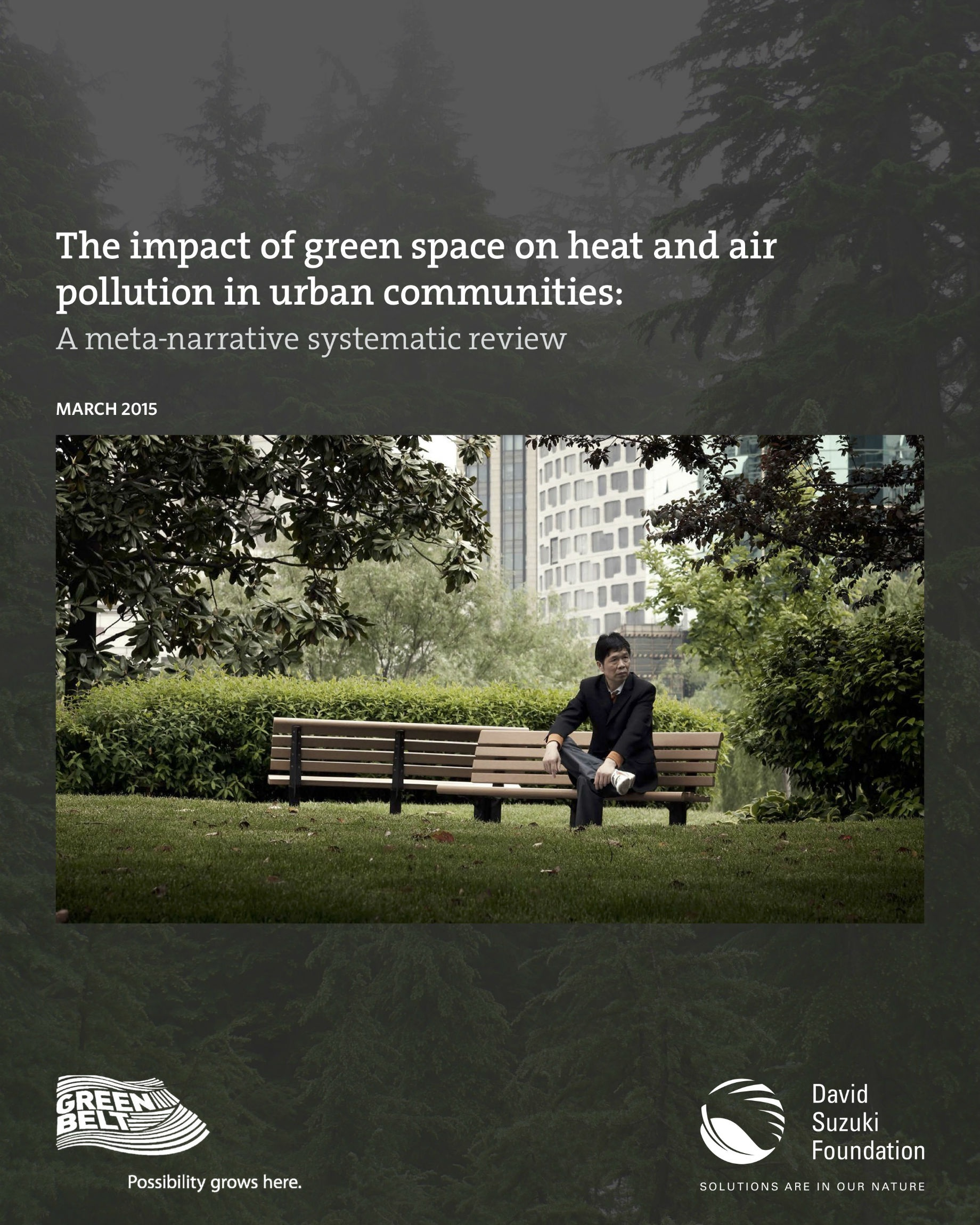 The Impact of Green Space on Heat and Air Pollution - Urban green spaces, such as parks and urban forests, are widely recognized for their ability to provide relief from heat and heat stress and improve air quality. This systematic review, published by the David Suzuki Foundation, provides a more in-depth understanding of the effect of different urban green space characteristics, including type and scale, on heat island mitigation and air pollution reduction at both local and city-wide scales. The report synthesizes research evidence from 102 peer-reviewed studies published over the past five years on how green spaces can help to reduce heat, improve air quality and support healthy livable urban communities.