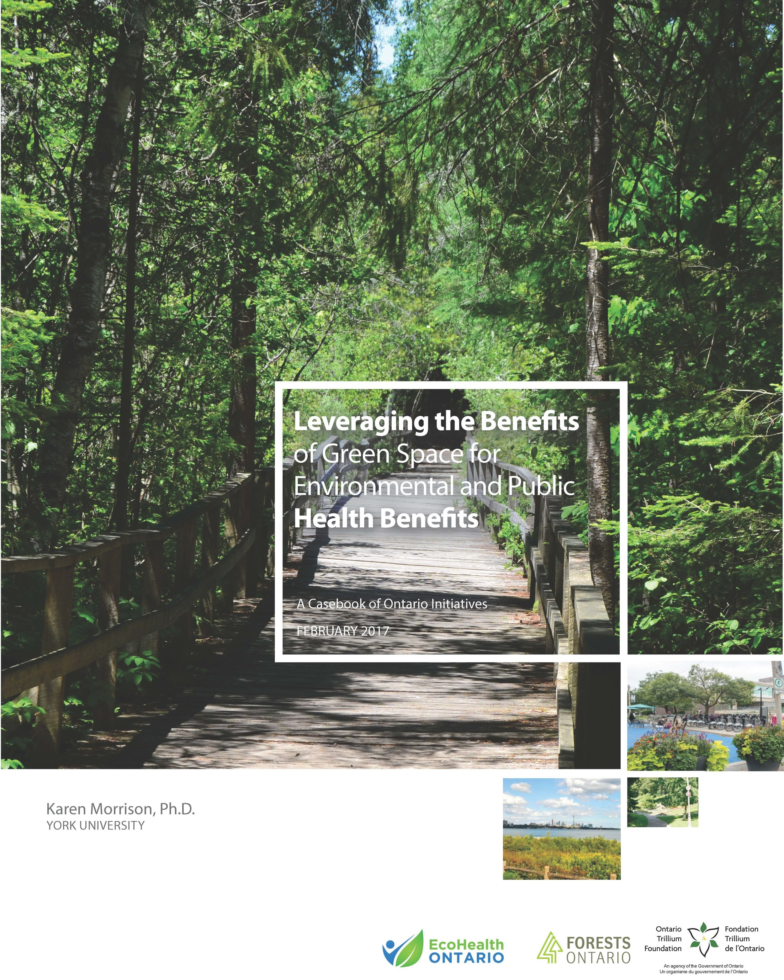 Leveraging the Benefits of Green Space - Linking green spaces explicitly to the protection and enhancement of human health and wellbeing has the potential to help us reduce or mitigate the wide ranging and escalating impacts of climate change to the environment and our own well-being. This report presents a casebook of Ontario-based initiatives that explore practices that are helping to protect and enhance green spaces. Examples of projects that can be applied in your community can be found HERE.