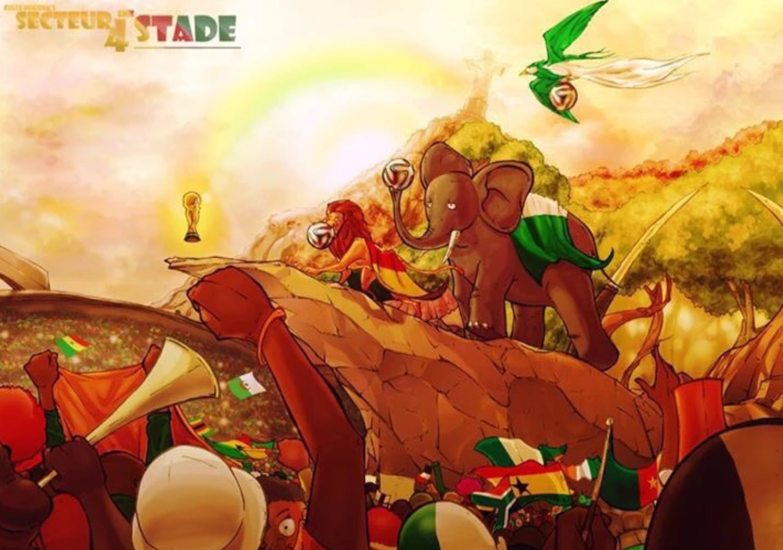 Le dessin sur les Lions allant en Coupe du Monde réalisé en 2010 - Je l'ai posté en douce mais on m'a chopé...