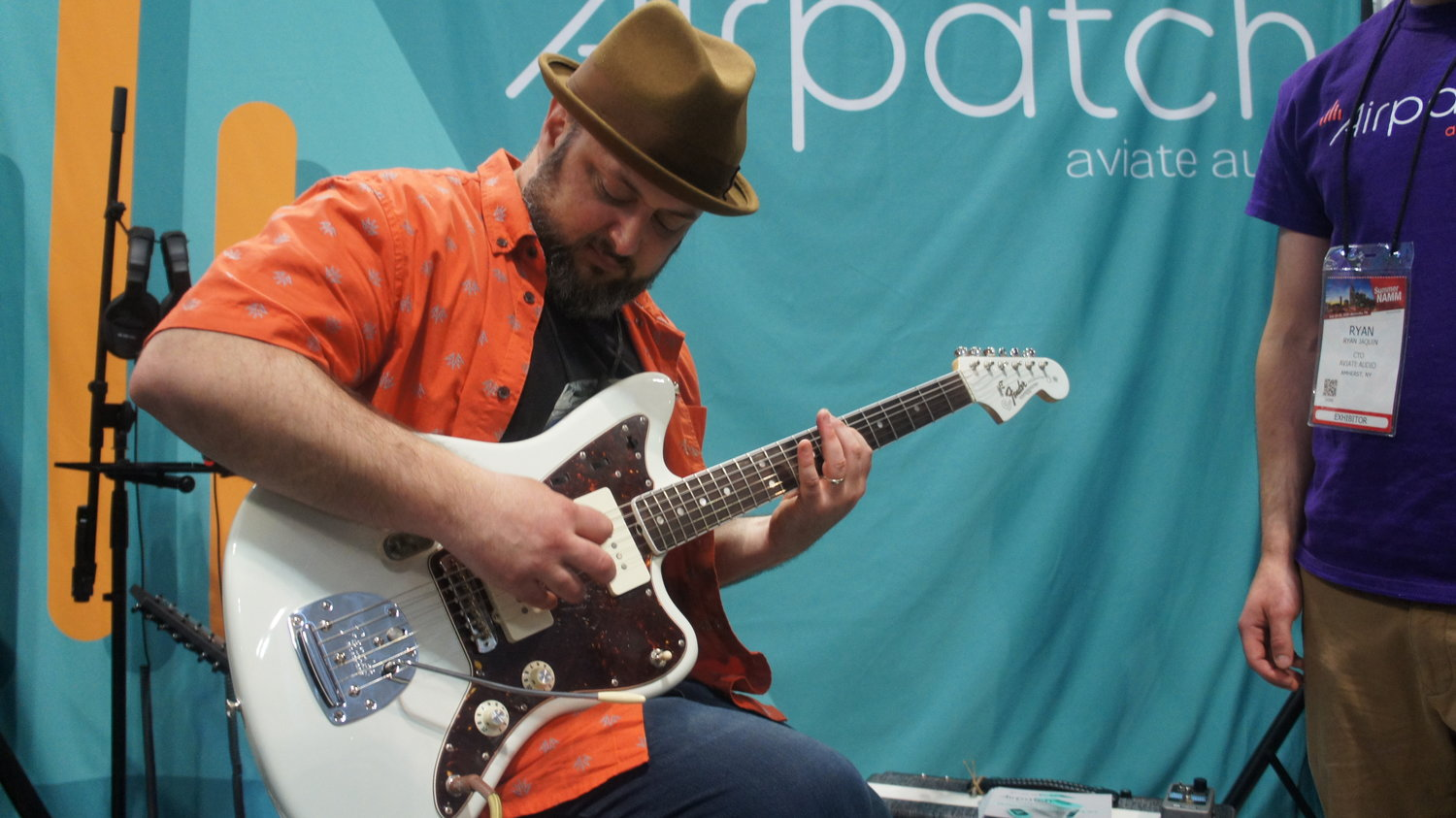 Marty Schwartz trying out the Airpatch At Summer NAMM Nashville, Tennessee.