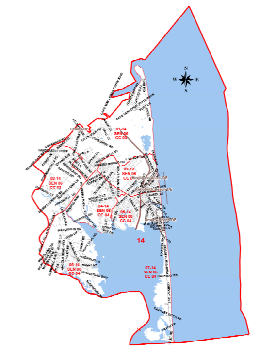 Representative District 14 - includes part or all of Rehoboth Beach, Dewey Beach, Henlopen Acres, & Lewes.Chairperson: Dick ByrneContact info:rawbyrne@verizon.net302 226-2308