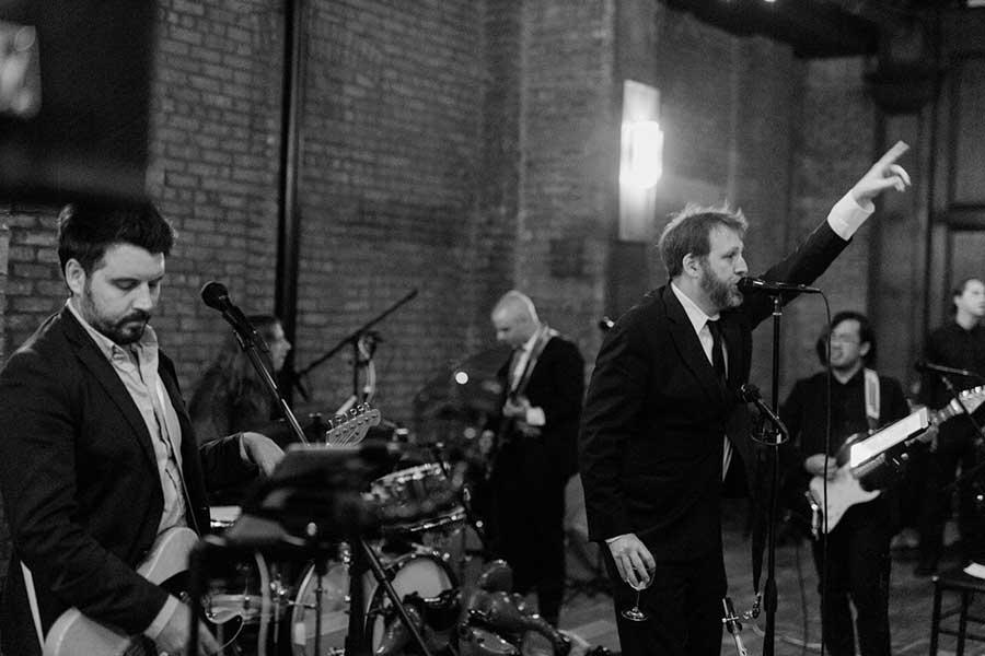 Dexter Lake Club Band performing at a 26 Bridge Wedding in D.U.M.B.O. Brooklyn. Photo by Casey Fatchett