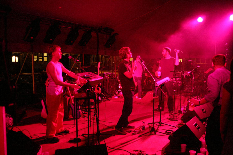 Princeton Reunion Dexter Lake Club Band Full Stage Shot Red Lighting