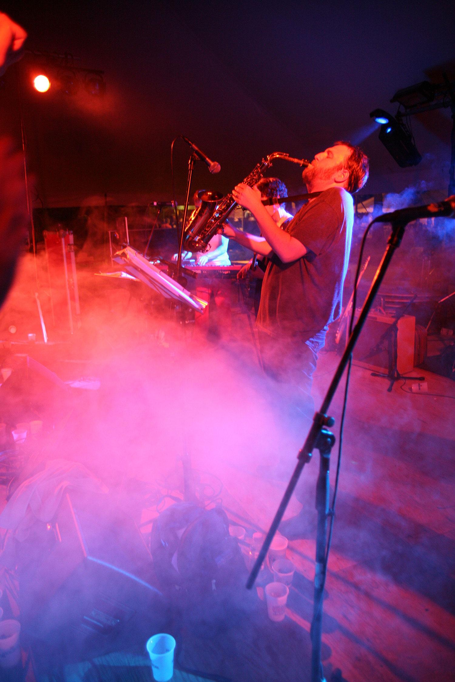 Princeton Reunion Dexter Lake Club Band Sax Player with smoke machine