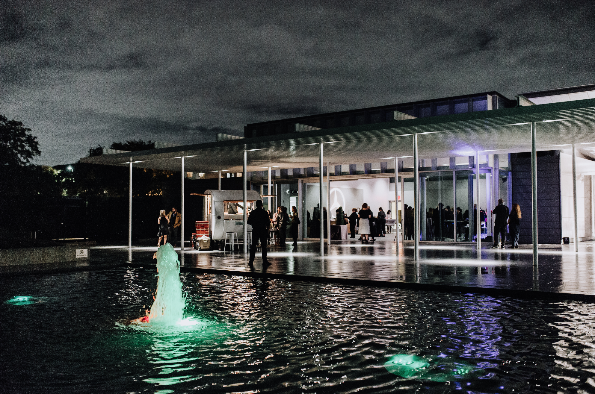 We have mastered the art of lighting design—and that means we break the rules once in a while. The fountain lights pictured above shift color temperature dynamically throughout the evening.