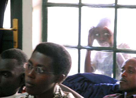 Curious onlooker during class