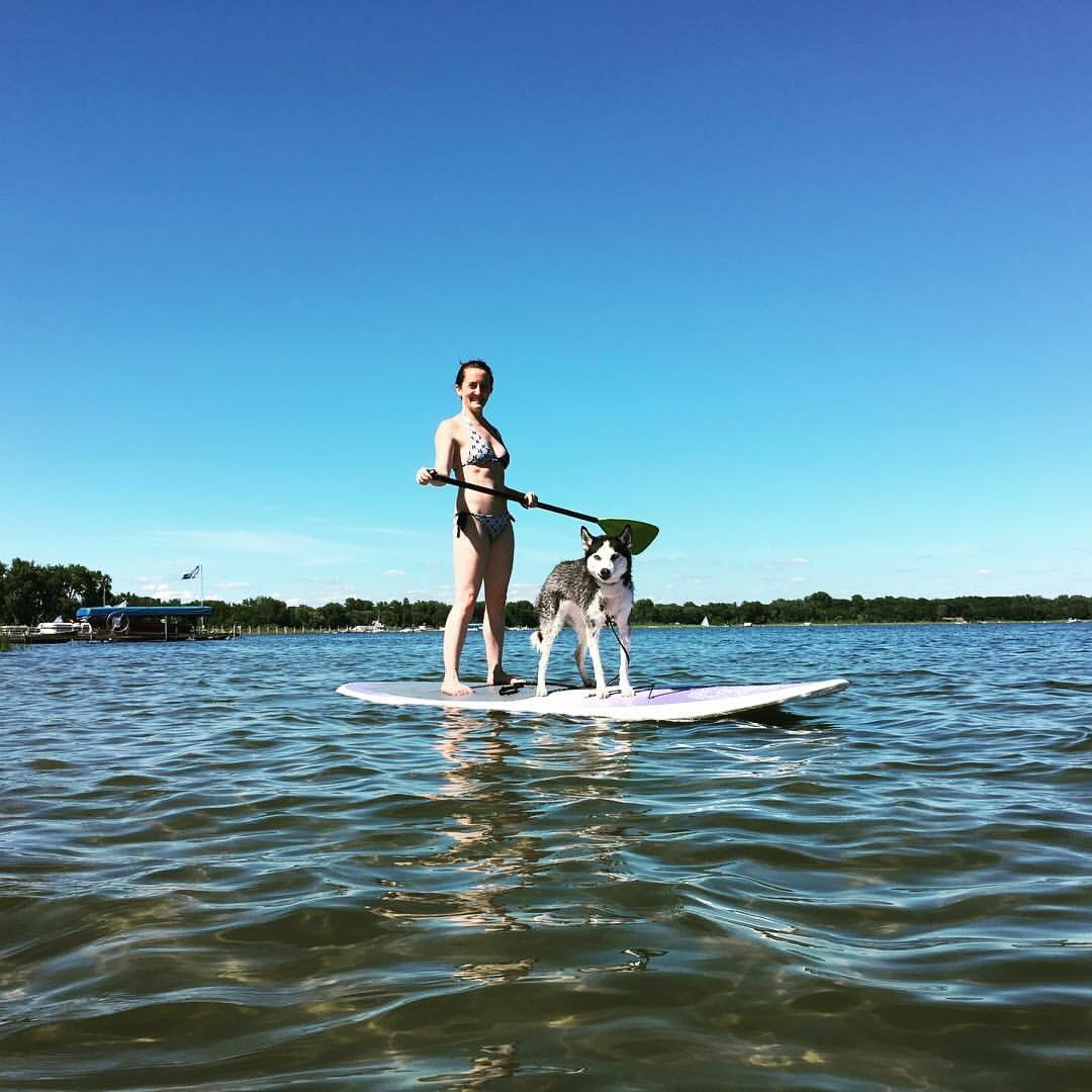 Paddle board with your dog - Looking for a way to chill and enjoy those hot summer days? Want your pooch to come along? In this training you will learn basic paddle board techniques and how to paddle away with your dog!Paddle board training is offered in the summer and is held on quieter lakes that are less trafficked, this helps with less distractions for your dog.Equipment you will need: 6 foot leash or longer, treats, swimwear, paddle board, and paddle.1.5 hoursNOTE: If you do not have a paddle board or paddle you can rent them at most boat shops/marinas (Tally's Dockside, St. Croix Stand Up Paddle Board Co.)