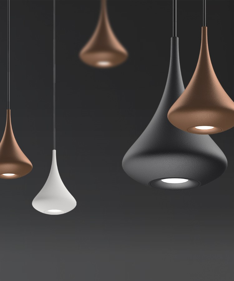 CLUSTERS. - It's not just the big eye-catching feature luminaires that steal the show. Many manufacturers brought smaller pendants that are used in large clusters to create a visual impact.This is an interesting trend to follow and one to look forward to. We should see a more playful approach in design, with different colours and shapes of smaller luminaires in one design. It's something that design professionals should enjoy.