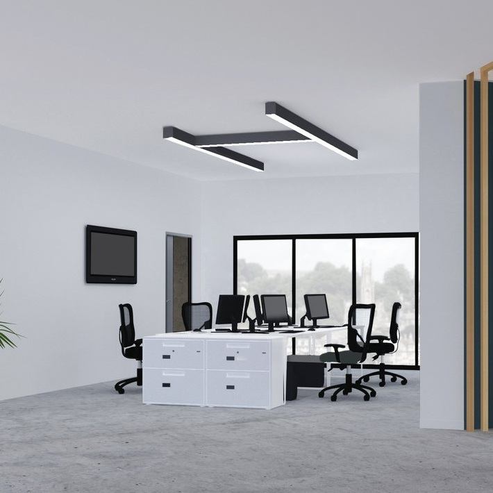 Customization system and shapes - The design of the RIO lends itself perfectly to made to measure linear lighting solutions.It gives the designer a true freedom creating a vast array of dimensional combinations.