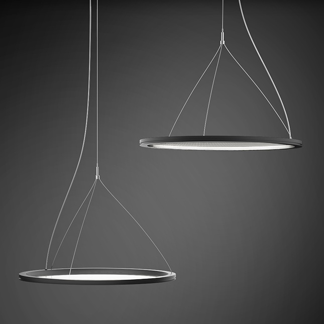 Perfect for listed buildings - The THELON certainly creates 'Wow' factor in any commercial interior. Even when switched off, this transparent suspended disk luminaire makes its presence felt. With a frame just 23mm deep, it blends seamlessly into interior architecture.