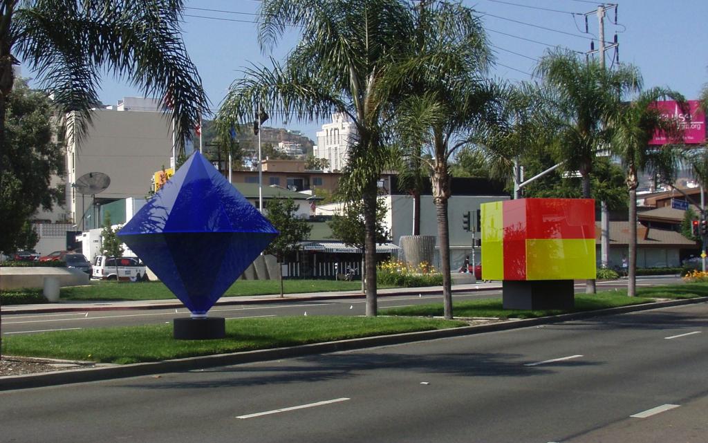 LED INSIDE - West Hollywood Outdoor Art Display Illumetrics Lit up with LED T8 Tubes