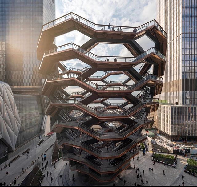 Here at Prescott Architects we love drawing inspiration with modern architecture and architectural concepts. One that we have been admiring is Hudson Yards located in New York City. Hudson yards is the largest private real estate development in United States history. Although there are many beautiful architectural designs to come with this development, the vessel is our current favorite structure in Hudson Yards. The vessel is an interactive structure designed by heatherwick studio. This structure is intended to be climbed and explored. There are 154 interconnecting flights of stairs where you can enjoy new perspectives of New York City.