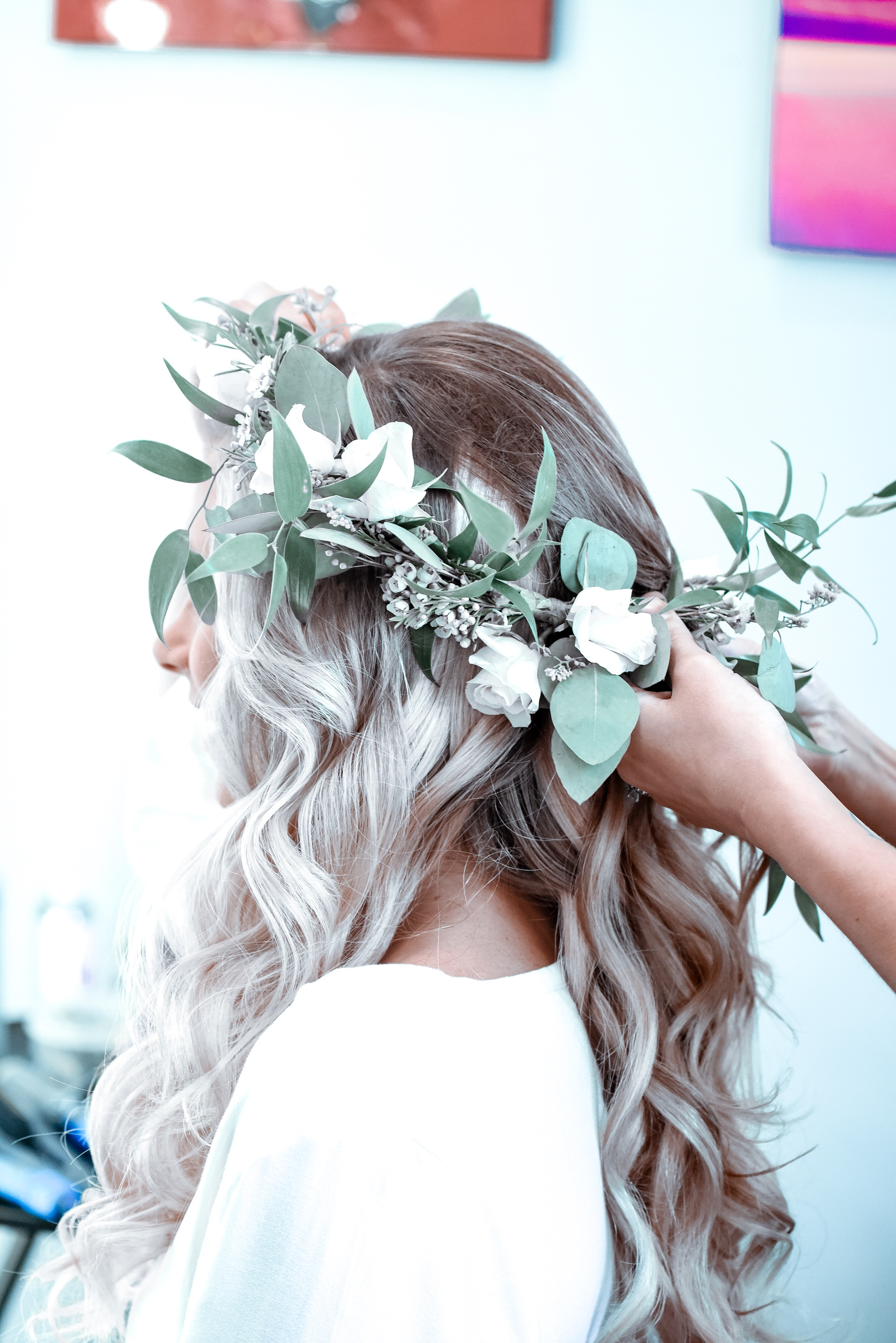 Expertly fitting my flower crown to my head! (Made by my florist!!  DayDream Floral )
