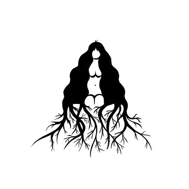 🖤 . . . #adamandeve #witch #plants #longhair #illustration #graphicdesign #surrealism #roots #earth #art #design #halloween #inktober #witchesofinstagram