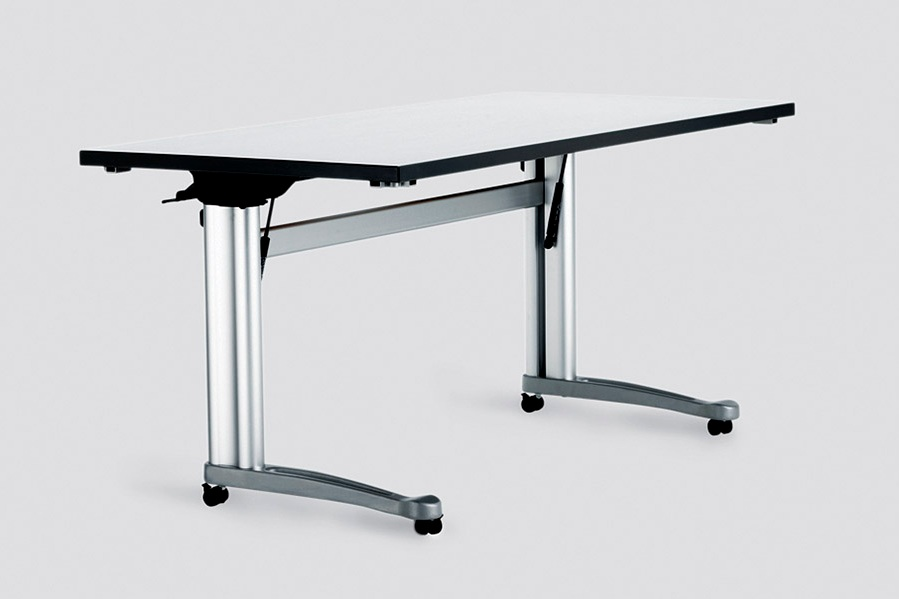"$$ - Propeller Rectangular C-Leg Table, 60""Wx24""D, Flip Top, Casters"