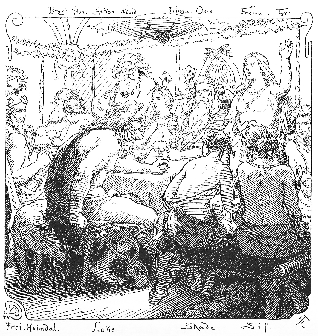 Council in Asgard  Frigg (Odin's wife) sits to his right. Freyja is standing.