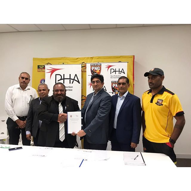 "21 FEBRUARY MEDIA STATEMENT  PHA SIGNS CONTRACTS WITH PNGRFL  PNG Health Assurance Company Ltd. (""PHA"") is delighted to announce a landmark five- year sponsorship with the Papua New Guinea Rugby Football League (""PNGRFL""). PHA is a new licensed insurer in Papua New Guinea at the center of a structured insurance ecosystem with renowned international partners, such as AXA and Fullerton Health. PHA is digital technology-enabled, providing affordable and comprehensive general insurance to everyone.  The sponsorship is part of PHA's ongoing commitment to the people of Papua New Guinea by providing insurance protection focusing on quality, affordable and accessible healthcare and personal accident insurance.  PHA's partnership with PNGRFL will bring about personal accident protection cover to all registered players and officials including referees end employees.  The partnership will start this year and ends in 2020 with the options to renew. Mr. RaJ Juta, specialist adviser to PHA said: ""Providing protection to the rugby players through a Personal Accident Insurance Cover is a very important step in promoting the sport not only in PNG but also to all rugby enthusiasts all over the world. This will also help encourage more players to be more competitive and further develop the national sport both at the professional and amateur levels.  Mr. Juta further mentioned that, ""It is an honour for PHA to be platinum sponsors of the PNG Kumuls and to have our logo at the back of the players' jumpers. I am very excited that starting next year, PHA will be the new naming rights sponsors of the Kumuls and the national team will be known as the PHA Kumuls. I am very grateful to Mr. Rau and Chairman Tsaka for giving us this opportunity.  PHA's partnership with PNGRFL came as a result of the APEC meeting held in Port Moresby last November.  PHA will have its official launch on the 9th of March 2019 and official invites will be sent very soon. - end-  PC L-R : Sudhir Guru - Independent Director PNGRFL, Reatau Rau - CEO PNGRFL, Raj Juta - Specialist Advisor PHA, Pradeep Soni - Director PHA, Michael Marum - Coach PNGRFL Kumuls"