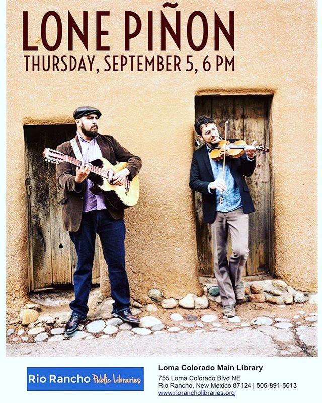 Thursday we'll be giving a free presentation on traditional northern New Mexico musical genres at the Rio Rancho Public Library, with @ampkiller on bass. Tonight the duo's @lospoblanos 5-7!