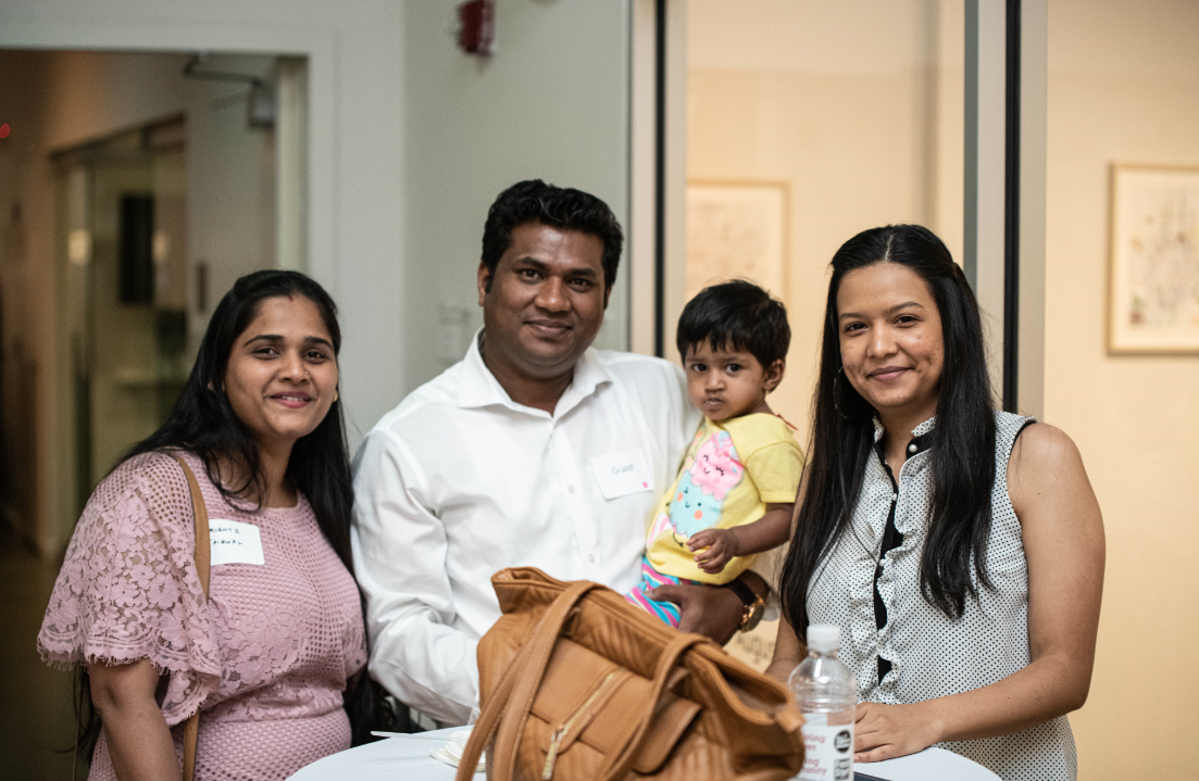 Srishti (far left) sets a fantastic example for her young son.
