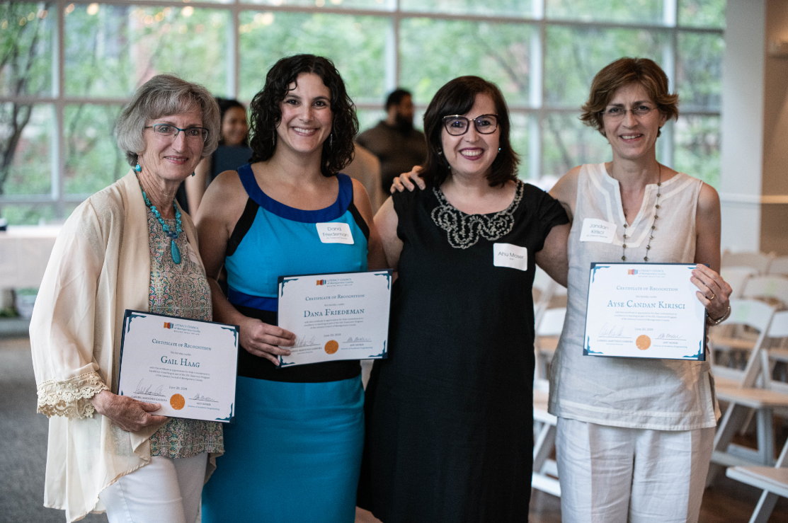 Gail (far left) made us all a little emotional when accepting her award, along with fellow ESL Classroom teachers.