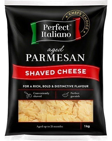 Spotlight Perfect Italiano Parmesan - Full flavour of a well-aged ParmesanHandy large pack sizes for foodserviceAvailable in Shaved, Shredded, Block and GratedPerfect for pasta, risotto, salads and sauces