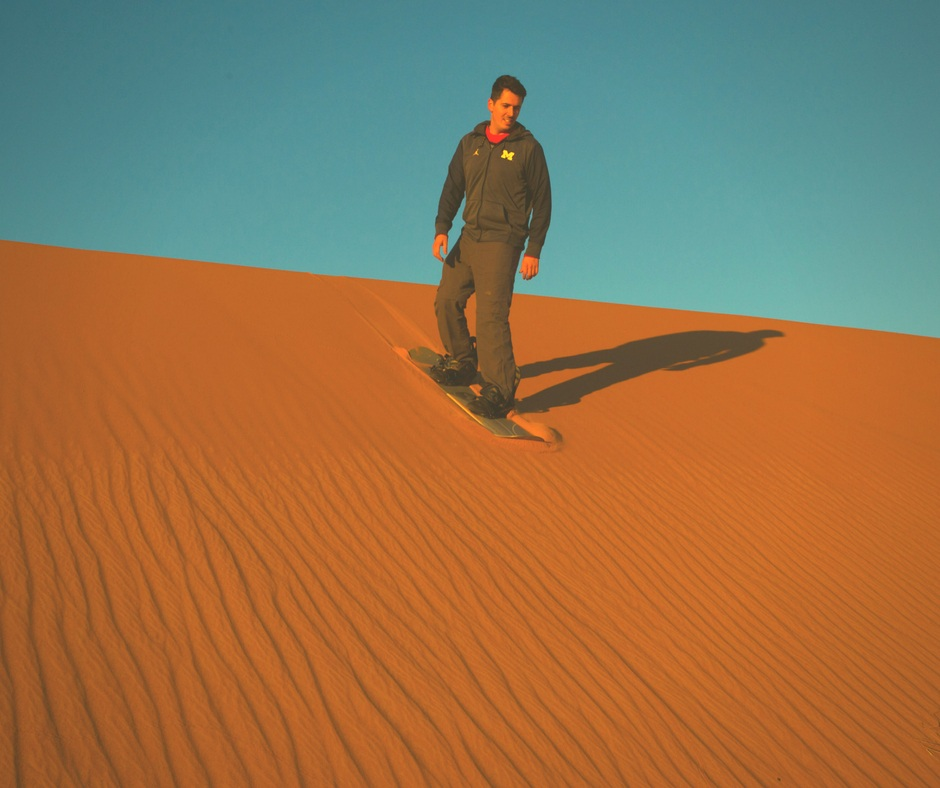 Sandboarding - Erg Chebbi is one of the largest and highest sand dunes in Morocco. Step onto sandboard and slide down from the top of the dunes. It is exciting and fun.