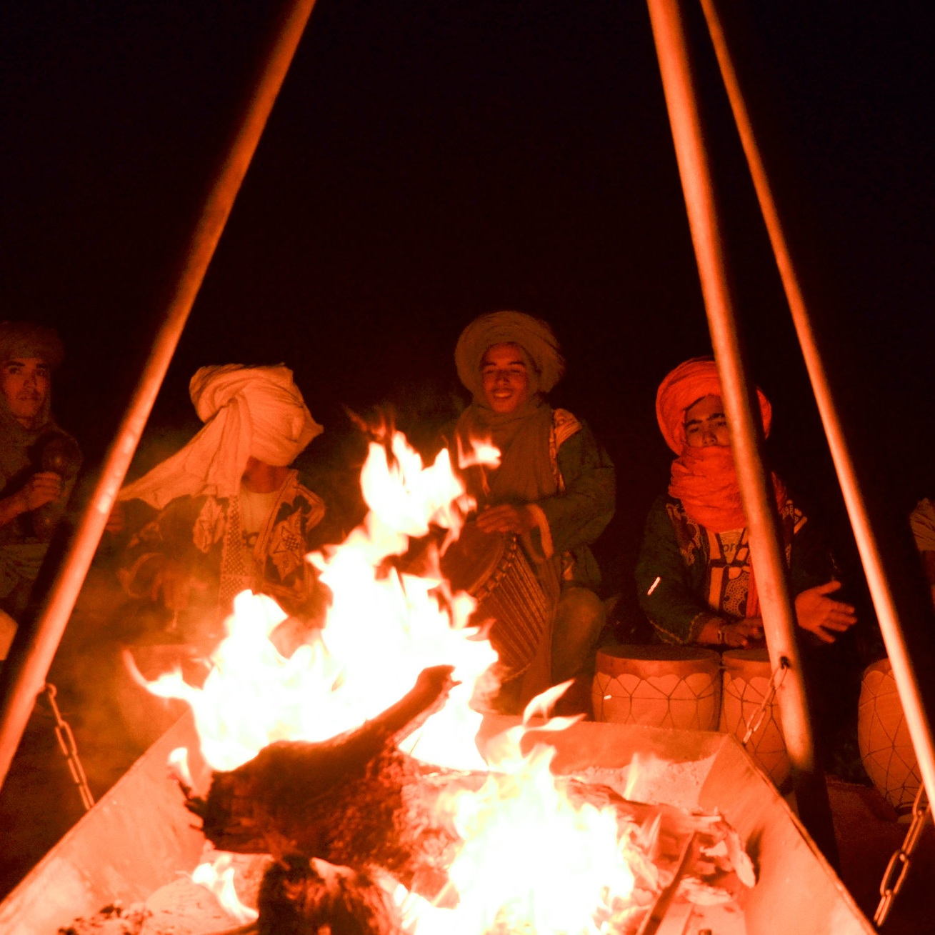 Camp fire - Depending on the weather, we will set up a bonfire every night and let our guests gather and sit together to enjoy Berber music.