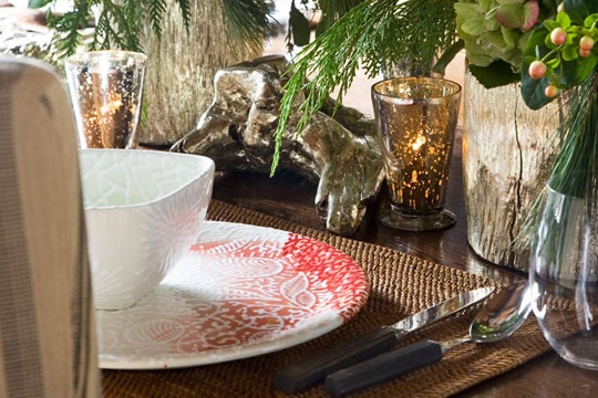 """Inside the Hillses' loft, a stylish tension of architectural components marries warmth and comfort with features that could date back to a 19th-century industrial facility. dinnerware was designed by family friend Jody Guralnick."" - Rocky Mountain Holiday"