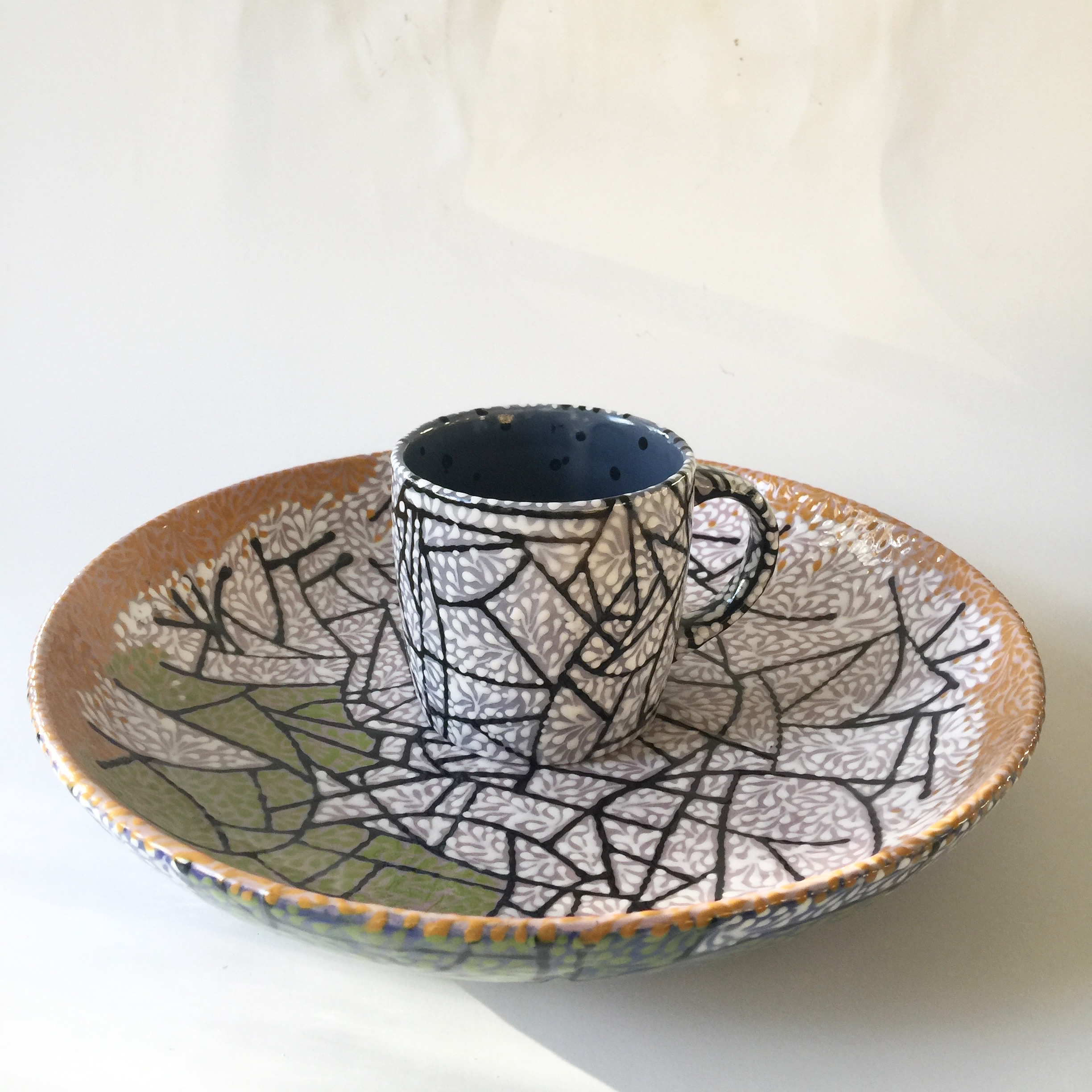 CRACKED ICE WITH SPRIGS PLATE AND MUG